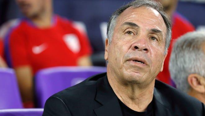 Oct 6, 2017: USA head coach Bruce Arena looks on against the Panama at Orlando City Stadium.