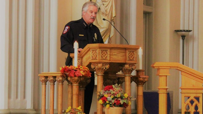 Chief of Police Troy Davenport at the annual Blue Mass held at the Cathedral of the Sacred Heart.