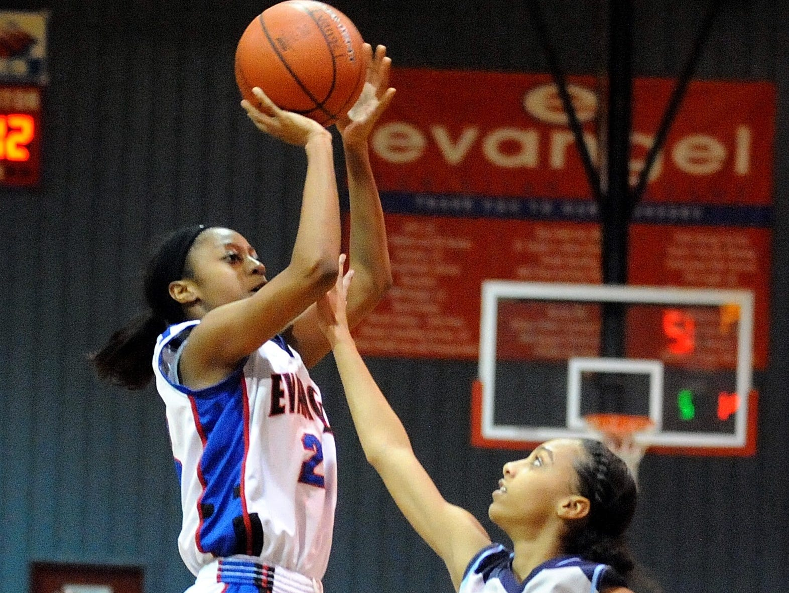 Evangel's Tiara Young puts up two of her 32 points against Airline Tuesday night.