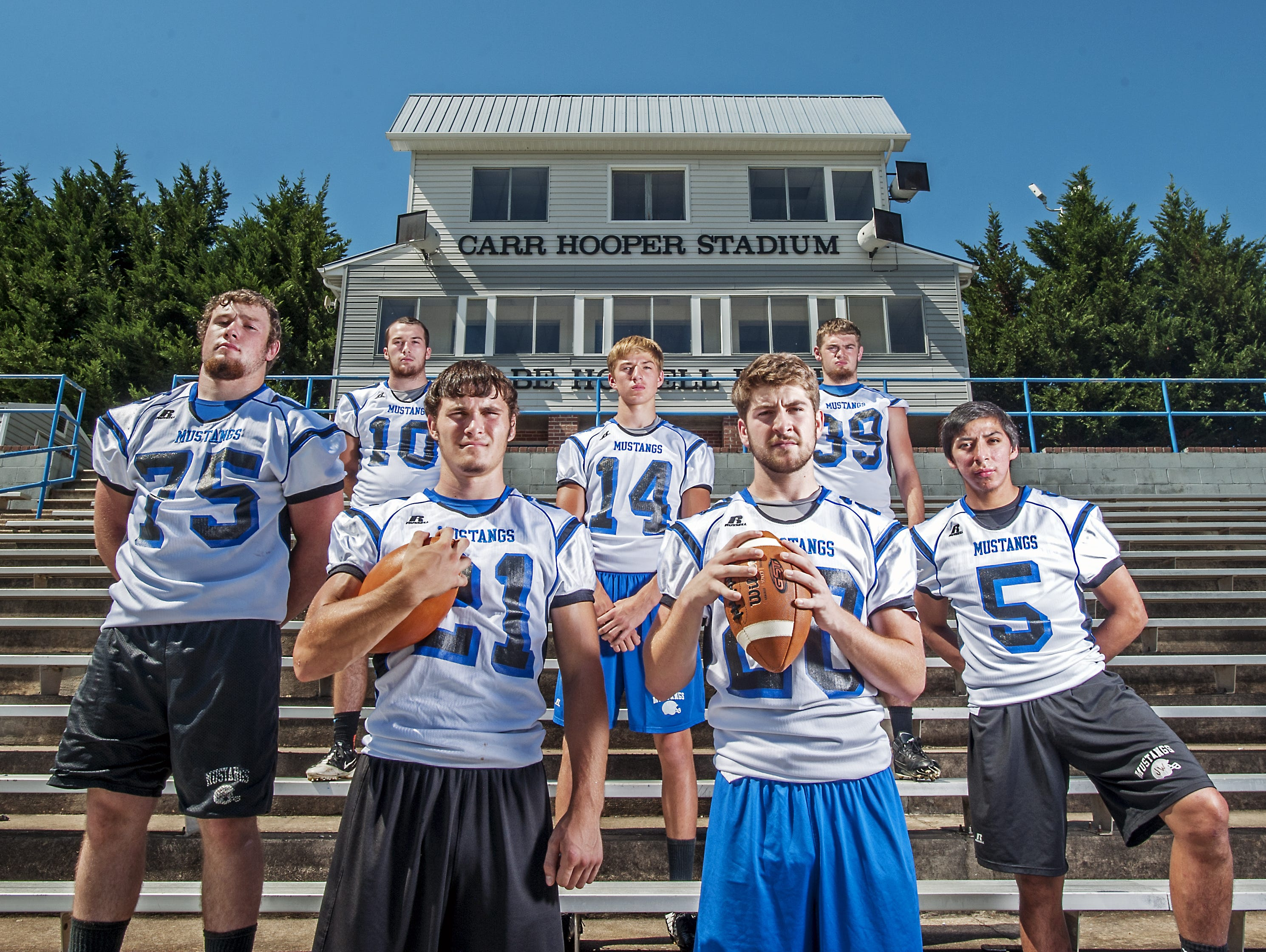 Smoky Mountain's football team went 5-7 this season. Pictured here are Zack Beck, Connor Moore, Carson Shuler, Jacob Gass, Nick Napert, Chase Fisher and Jayce Wolfe.