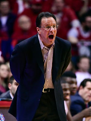 Feb 9, 2017; Bloomington, IN, USA; Indiana Hoosiers head coach Tom Crean yells to his team during the first quarter of the game against the Purdue Boilermakers at Assembly Hall.