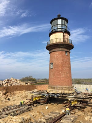 The Gay Head Lighthouse is moved to its new foundation.