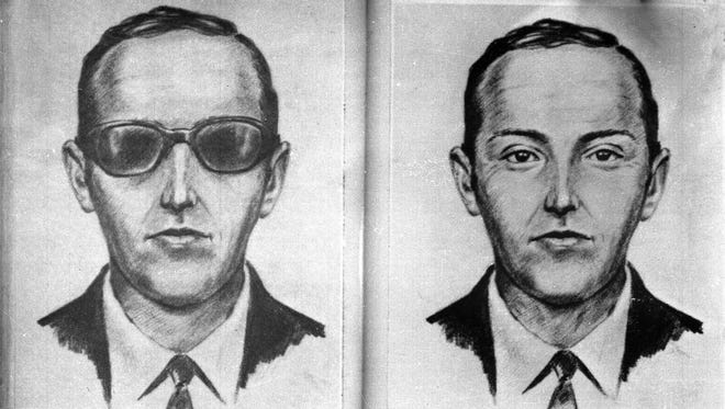 "FILE - This 1971 artist's sketch provided by the FBI shows the skyjacker known as ""Dan Cooper,"" or ""D.B. Cooper,"" made from the recollections of passengers and crew of a Northwest Orient Airlines jet he hijacked between Portland and Seattle on Nov. 24, 1971, Thanksgiving eve. Marla Cooper of Oklahoma City, who was 8 years old at the time of the hijacking, told ABC News in an interview broadcast Wednesday, Aug. 3, 2011 that she is certain her uncle Lynn Doyle Cooper leaped from a Northwest Orient plane not far from her grandmother's home in Sisters, Ore. (AP Photo/FBI, File)"