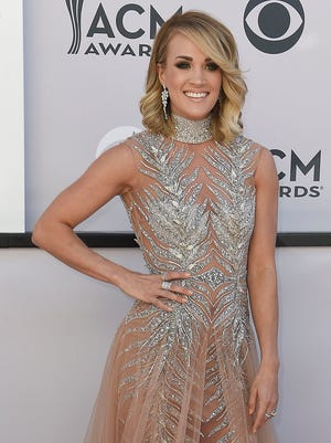 Carrie Underwood during the 52nd Academy of Country Music Awards red carpet at T-Mobile Arena on Sunday, April 2, 2017, in Las Vegas, Nev.