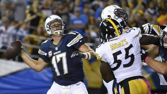 San Diego Chargers quarterback Philip Rivers throws a pass while playing the Pittsburgh Steelers in Monday night's game in San Diego.