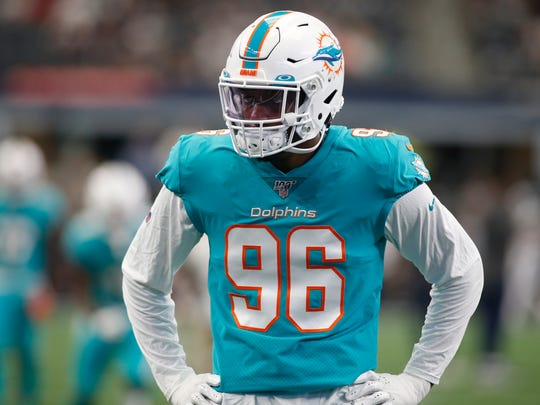 Sep 22, 2019; Arlington, TX, USA; Miami Dolphins defensive end Taco Charlton (96) on the field before the game against the Dallas Cowboys at AT&T Stadium. Mandatory Credit: Tim Heitman-USA TODAY Sports