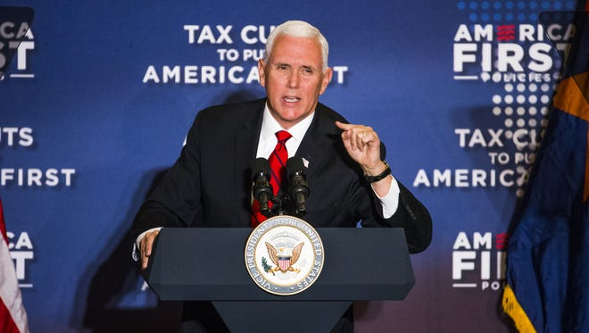 Vice President Mike Pence delivers his speech, primarily on the benefits of the recent tax cuts, at the America First Policies event at the Phoenix Marriott Resort Tempe at The Buttes on May 1, 2018.