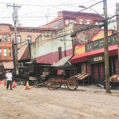 A street in Yonkers is transformed for filming the