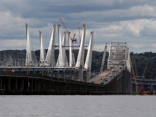 Traffic crosses the Gov. Mario M. Cuomo Bridge and