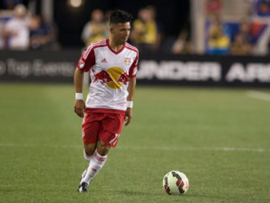 Franklin Castellanos of Dover carries the ball in the Red Bulls' friendly against Chelsea FC. Photo courtesy of NewYorkRedBulls.com