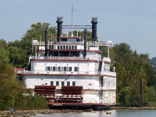 Rising Star casino boat moored on the Ohio River  at