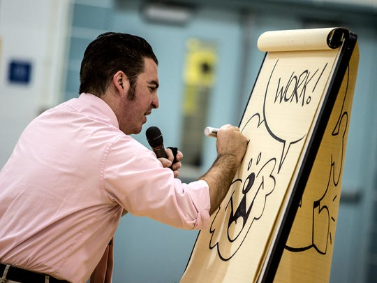 Cartoonist Duane Abel visited Ben Franklin Elementary Friday morning for a fun and motivational assembly, Draw Your Destiny.  Abel draws a weekly comic, Zed, who is a tiny creature who lives in a washing machine.