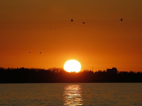 Sunset at Irondequoit Bay.