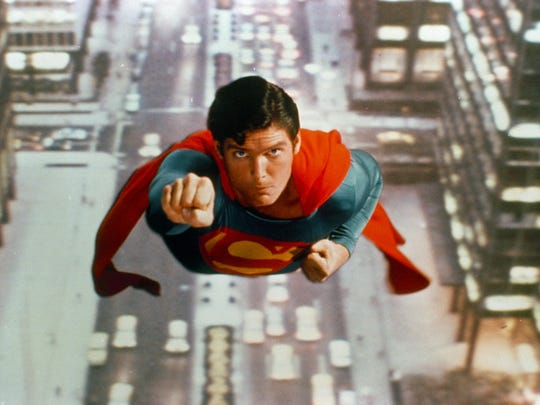 Actor Christopher Reeve is shown as the action-hero