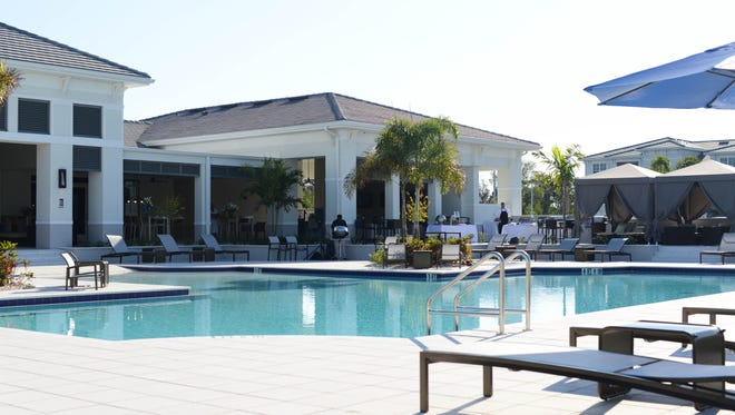 The clubhouse and pool area at Spectra Apartments.