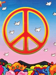 """""""Peace Doves,"""" a piece by legendary artist Peter Max."""