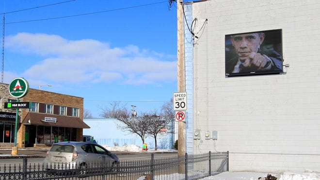 A digital sign on the side of a Richmond St. building on January 22, 2015, in Appleton, Wis.