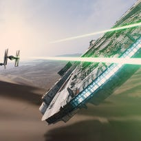 """Lucasfilm The Millennium Falcon in scene from the trailer for the 2015 motion picture """"Star Wars: The Force Awakens."""" CREDIT: Lucasfilm  [Via MerlinFTP Drop]"""