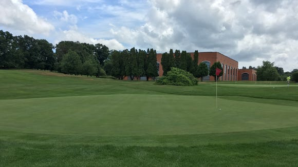 The ninth green is deceptive and any shot in that leaves a lengthy putt inspires stress.