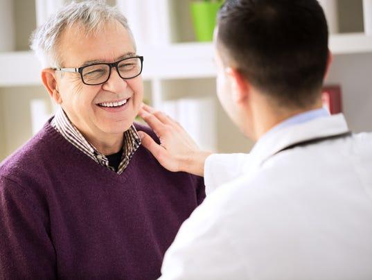 Smiling happy patient visit doctor