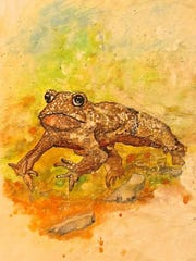 """""""Marathon Frog,"""" mixed media by Pat Smith, part of the new exhibit at Meadows Art Gallery in Sister Bay."""