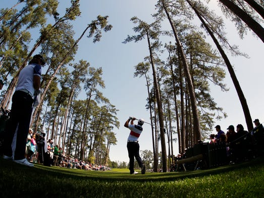 Romain Langasque of France hits his tee shot on the