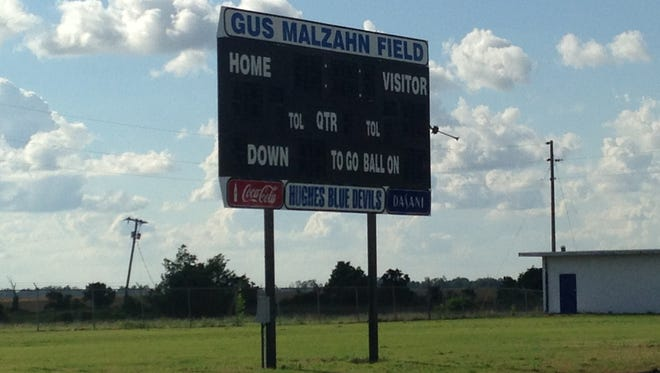 Hughes High School's football field in Hughes, Arkansas will be named for its former coach, Gus Malzahn, during a ceremony on Monday. Auburn's coach began with the Blue Devils from 1991-95, first as defensive coordinator and then spent four years as head coach, taking Hughes to the Class AA state title game in 1994.