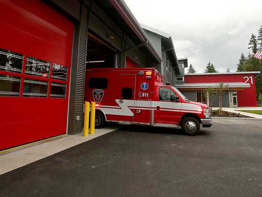 Medic Unit 21 exits the Bainbridge Island Fire Station