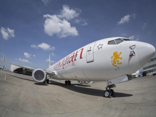 An Ethiopian Airlines Boeing 737 Max 8 sits grounded at Bole International Airport in Addis Ababa, Ethiopia Saturday, March 23, 2019.