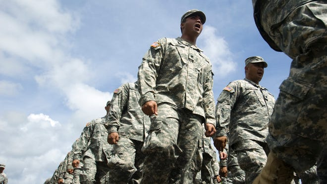 Members of the Guam Army National Guard march during the 2010 Liberation Day parade.