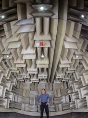 Ron Miles, distinguished professor of mechanical engineering and associated dean of research at the Watson School of Engineering and Applied Sciences pictured in the anechoic chamber.