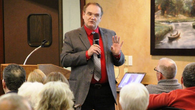 Chester Marcol speaks during a Samaritans Hand event last week in Sheboygan.