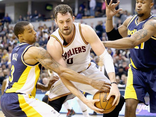 FILE: Kevin Love Opts Out Of Cavaliers Contract Cleveland Cavaliers v Indiana Pacers