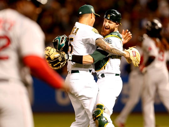 Oakland Athletics pitcher Sean Manaea (55) celebrates