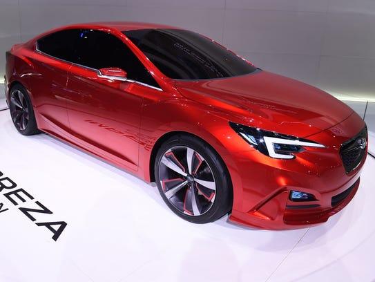 The Subaru Impreza Sedan Concept car is displayed at