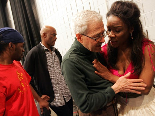 David DiChiera chats with Denyce Graves during a rehearsal