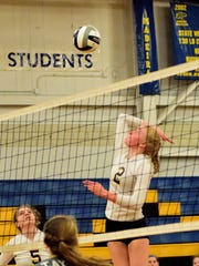 Madeira sophomore Emma Fortman elevates for a kill against Taylor on Sept. 15.