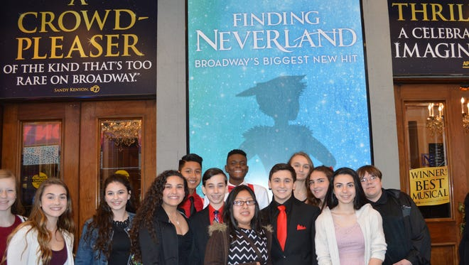 """Eighth-graders from Bishop Schad Regional School, who visited New York City to see the Broadway show """"Finding Neverland"""" on May 4, are (from left) Julie Janetta, Lia D'Orio, Samantha Reuss, Kaila Colon, William Santiago, Daniel D'Angelo, Nickvens Delva, Lucero Lopez-Ortiz, Gabriel Conte, Brooke Larcher, Emily Cejkovsky, Carly Fanucci and Christopher Dion."""