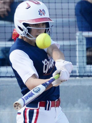 North DeSoto's Bayli Simon swings during her game against  DeRidder in the Class 4A second-round softball game.