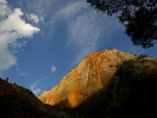 Deep shadows form on the cliffs of Zion National Park