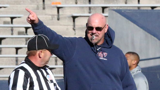 UTEP head coach Sean Kugler directs Friday's scrimmage game in the Sun Bowl.