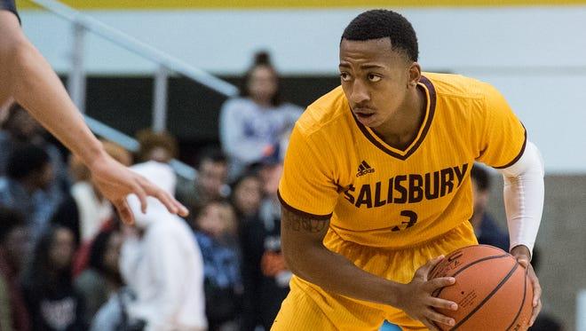 Salisbury University's Blair Davis (3) moves the ball during a game against Washington College on Wednesday, Nov. 15, 2017.