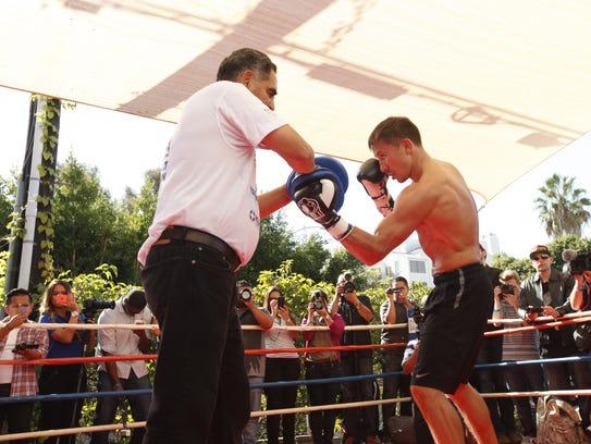 Abel Sánchez entrena a su pupilo Genady Golovkin.