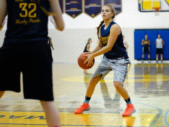 Brooke Austin looks for an open teammate Monday, Nov. 9, during the first day of girls basketball practice at Port Huron Northern.