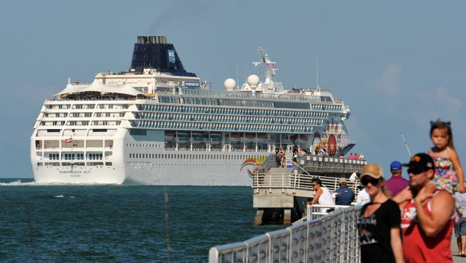 The Norwegian Sun leaves Port Canaveral on a sailing to Cuba. It was the first passenger ship based at Port Canaveral to have service to Cuba.