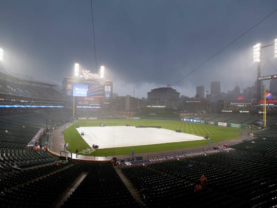 Rain falls on Comerica Park before the Tigers-Red Sox