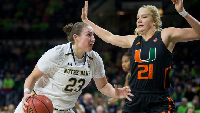 Notre Dame's Jessica Shepard (23) drives as Miami's Emese Hof (21) defends during the first half of an NCAA college basketball game Thursday, Jan. 4, 2018, in South Bend, Ind.