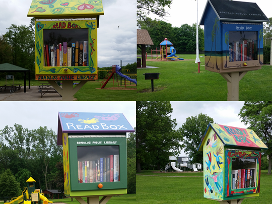 Some of the Read Boxes that Romulus Public Library in conjunction with the Rotary Club and artists  installed at Romulus parks last year and this year.