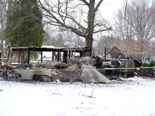 In Leslie Township, a mobile home in the 3000 block of Woods Road burned Wednesday, Dec. 21, 2016.