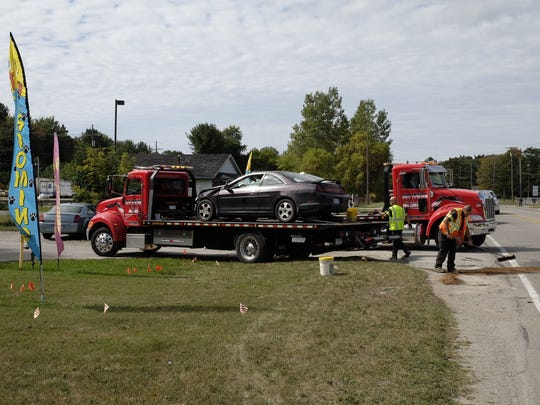 Three people were injured in a crash on Lapeer Road Wednesday.